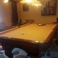 8 Ft Slate American Heritage Pool Table and Accessories
