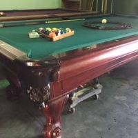 8ft Leisure Bay, Slate Top Pool Table, Leather Pockets